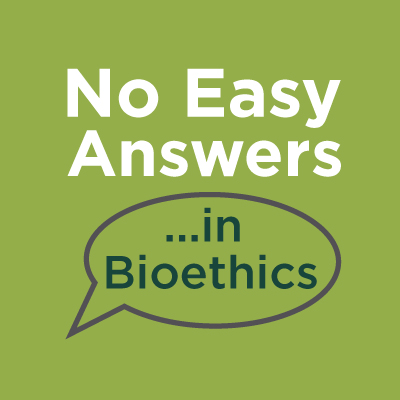 No Easy Answers in Bioethics speech bubble logo