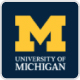University of Michigan yellow M logo with blue background